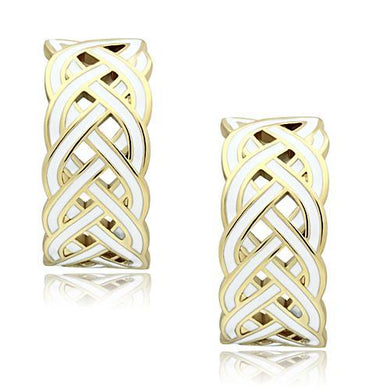 GL272 - IP Gold(Ion Plating) Brass Earrings with Epoxy  in White