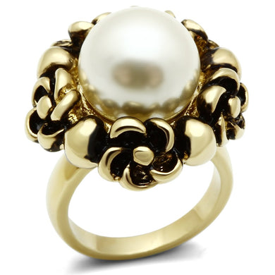 GL308 - IP Gold(Ion Plating) Brass Ring with Synthetic Pearl in White