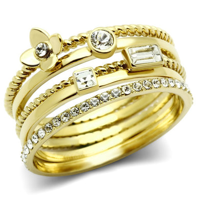 GL322 IP Gold(Ion Plating) Brass Ring with Top Grade Crystal in Clear