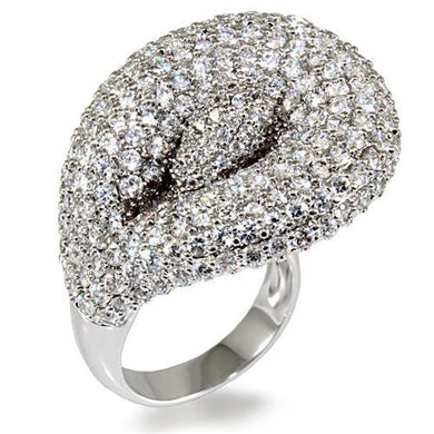LO1482 - Rhodium Brass Ring with AAA Grade CZ  in Clear