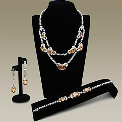 LO2326 Rhodium Brass Jewelry Sets with AAA Grade CZ in Champagne