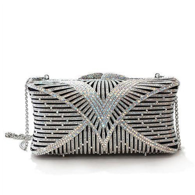 LO2362 - Imitation Rhodium White Metal Clutch with Top Grade Crystal  in White