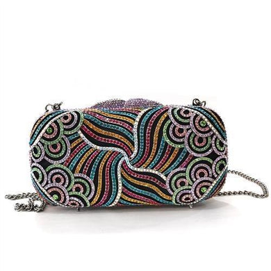 LO2365 - Imitation Rhodium White Metal Clutch with Top Grade Crystal  in Multi Color