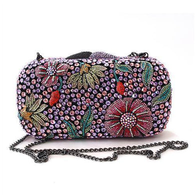 LO2374 - Ruthenium White Metal Clutch with Top Grade Crystal  in Multi Color