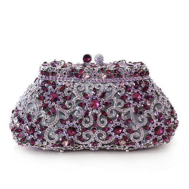 LO2376 - Imitation Rhodium White Metal Clutch with Top Grade Crystal  in Multi Color