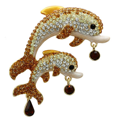 LO2413 - Gold White Metal Brooches with Top Grade Crystal  in Multi Color