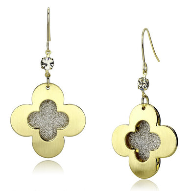LO2668 - Matte Gold & Gold Iron Earrings with Top Grade Crystal  in Clear