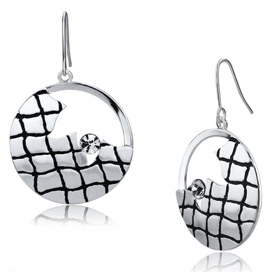 LO2687 - Matte Rhodium & Rhodium Iron Earrings with Top Grade Crystal  in Clear
