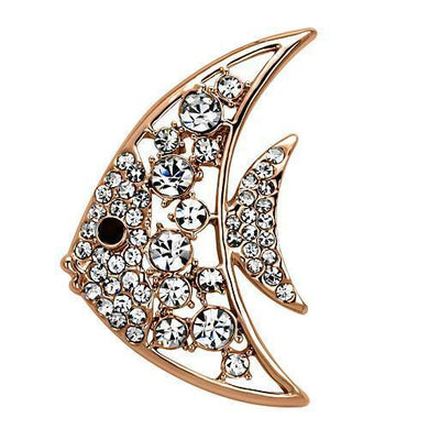 LO2787 - Flash Rose Gold White Metal Brooches with Top Grade Crystal  in Clear
