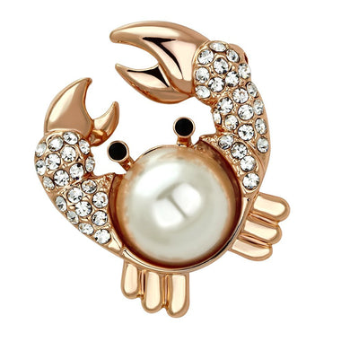 LO2843 - Flash Rose Gold White Metal Brooches with Synthetic Pearl in White