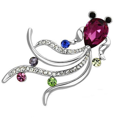 LO2904 - Imitation Rhodium White Metal Brooches with Synthetic Glass Bead in Fuchsia
