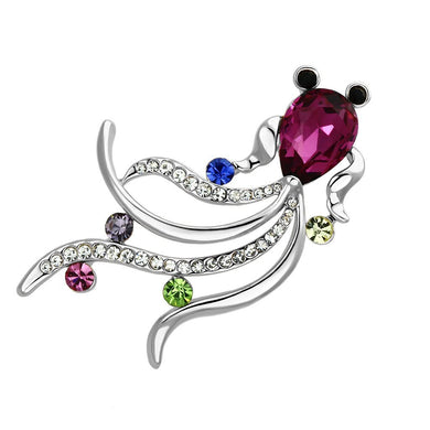 LO2905 - Flash Rose Gold White Metal Brooches with Synthetic Glass Bead in Fuchsia
