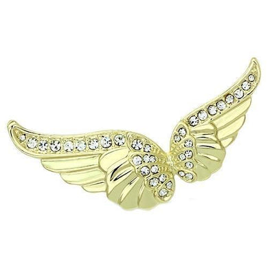 LO2914 - Flash Gold White Metal Brooches with Top Grade Crystal  in Clear