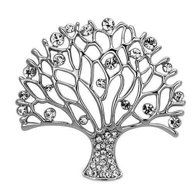 LO2915 - Imitation Rhodium White Metal Brooches with Top Grade Crystal  in Clear