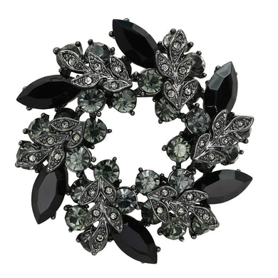 LO2917 - Ruthenium White Metal Brooches with Top Grade Crystal  in Jet