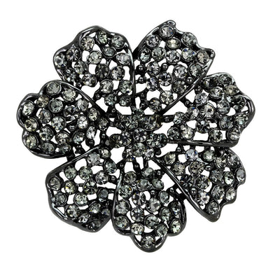 LO2919 - Ruthenium White Metal Brooches with Top Grade Crystal  in Black Diamond