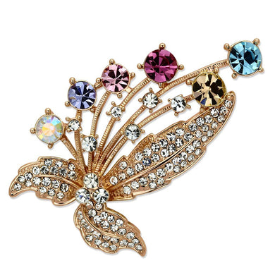 LO2922 - Flash Rose Gold White Metal Brooches with Top Grade Crystal  in Multi Color