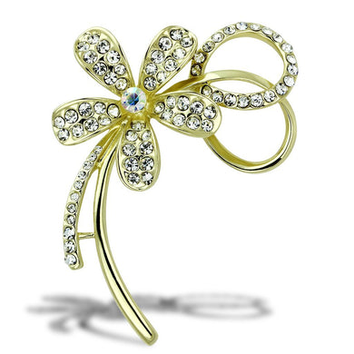 LO2924 - Flash Gold White Metal Brooches with Top Grade Crystal  in Clear