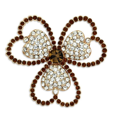 LO2925 - Flash Rose Gold White Metal Brooches with Top Grade Crystal  in Smoked Quartz