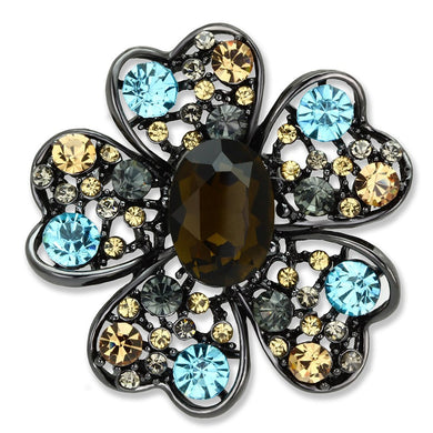 LO2926 Ruthenium White Metal Brooches with Synthetic in Brown
