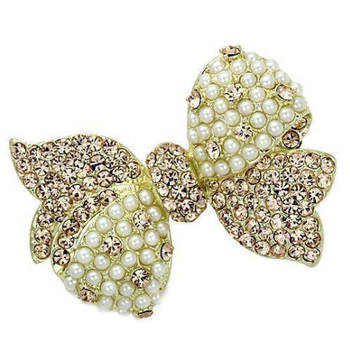 LO2927 - Flash Gold White Metal Brooches with Synthetic Pearl in White