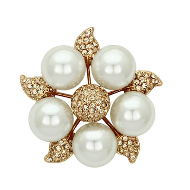 LO2928 - Flash Rose Gold White Metal Brooches with Synthetic Pearl in White