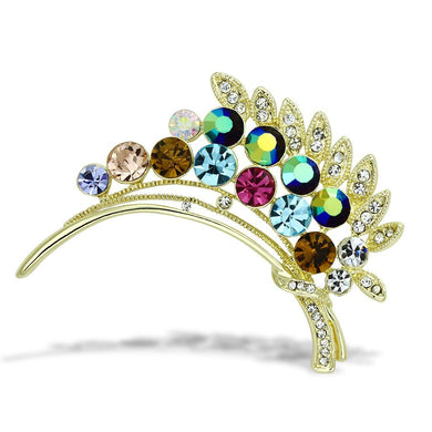 LO2929 - Flash Gold White Metal Brooches with Top Grade Crystal  in Multi Color