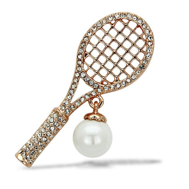 LO2930 - Flash Rose Gold White Metal Brooches with Synthetic Pearl in White