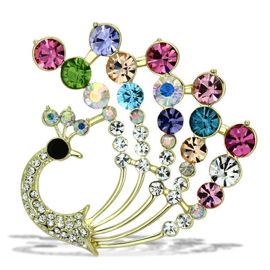 LO2931 - Flash Gold White Metal Brooches with Top Grade Crystal  in Multi Color