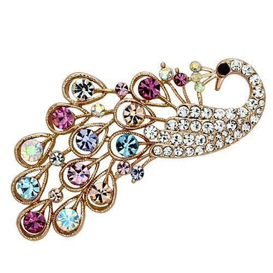 LO2932 - Flash Rose Gold White Metal Brooches with Top Grade Crystal  in Multi Color
