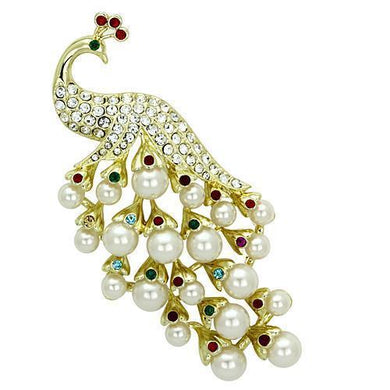 LO2933 - Flash Gold White Metal Brooches with Synthetic Pearl in White