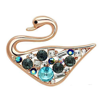 LO2934 - Flash Rose Gold White Metal Brooches with Top Grade Crystal  in Multi Color