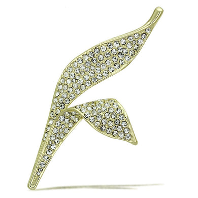 LO2935 - Flash Gold White Metal Brooches with Top Grade Crystal  in Clear