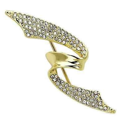 LO2940 - Flash Gold White Metal Brooches with Top Grade Crystal  in Clear