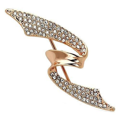 LO2941 - Flash Rose Gold White Metal Brooches with Top Grade Crystal  in Clear