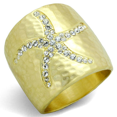 LO3637 - Gold & Brush Brass Ring with Top Grade Crystal  in Clear