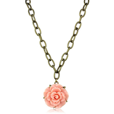 LO3662 - Antique Copper Brass Necklace with Synthetic Synthetic Stone in Rose