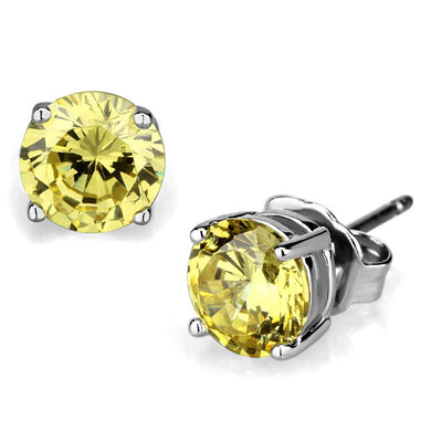 LO3953 - Rhodium Brass Earrings with AAA Grade CZ  in Citrine Yellow