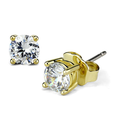 LO3958 - Gold Brass Earrings with AAA Grade CZ  in Clear