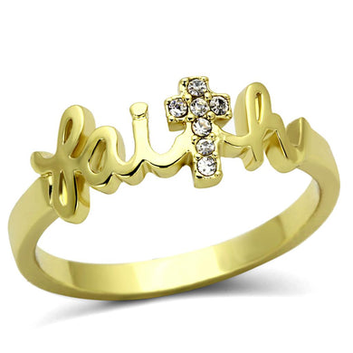 LO3963 Flash Gold Brass Ring with Top Grade Crystal in K2