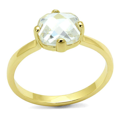 LO4078 Flash Gold Brass Ring with AAA Grade CZ in K2