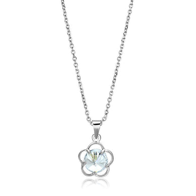 LO4143 Rhodium Brass Chain Pendant with AAA Grade CZ in Clear