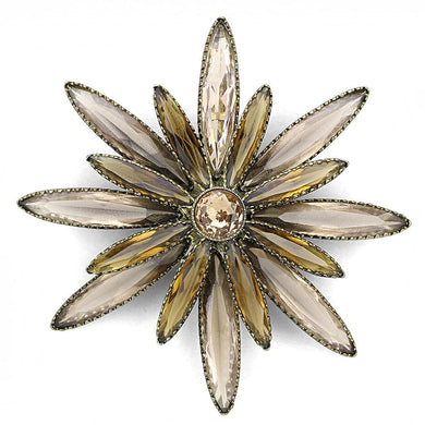LO4176 - Antique Copper Brass Brooches with Synthetic Synthetic Glass in Champagne