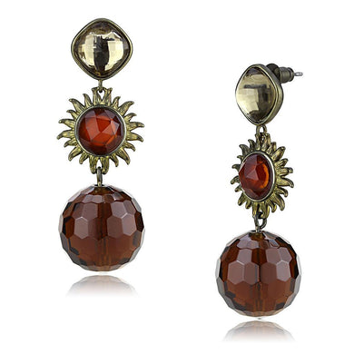 LO4179 - Antique Copper Brass Earrings with Synthetic Synthetic Glass in Brown