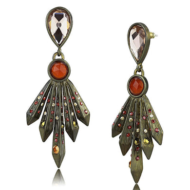 LO4180 - Antique Copper Brass Earrings with Synthetic Synthetic Glass in Champagne