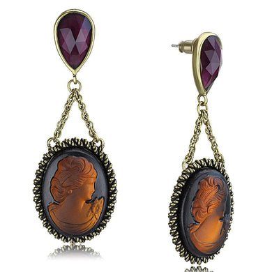 LO4182 - Antique Copper Brass Earrings with Synthetic Synthetic Stone in Smoked Quartz