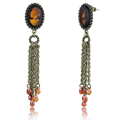LO4185 - Antique Copper Brass Earrings with Synthetic Synthetic Stone in Smoked Quartz