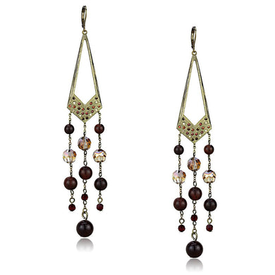 LO4186 - Antique Copper Brass Earrings with Assorted  in Multi Color