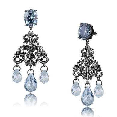 LO4188 - TIN Cobalt Black Brass Earrings with AAA Grade CZ  in Sea Blue