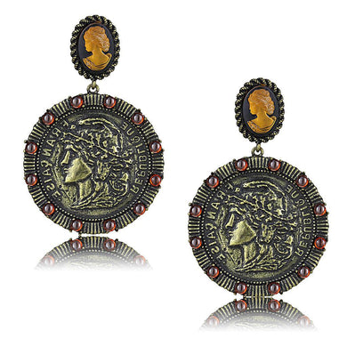 LO4190 - Antique Copper Brass Earrings with Synthetic Synthetic Stone in Smoked Quartz